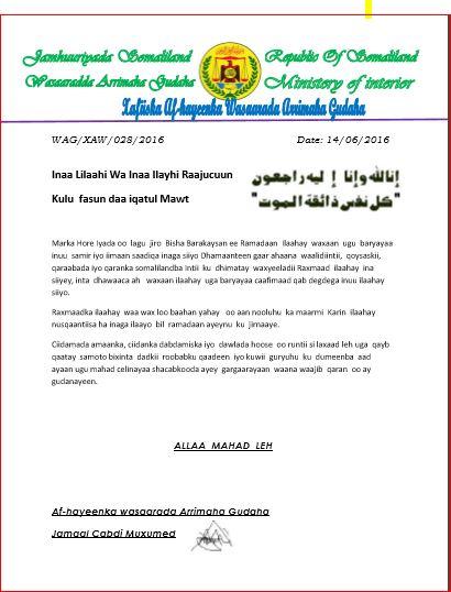Wasiirka Waasaarada Arrimaha Gudaha Somaliland Oo Dhambaal Tacsiya U Diray Dadkii Ku Nafwaayey  Roobkii Shalay