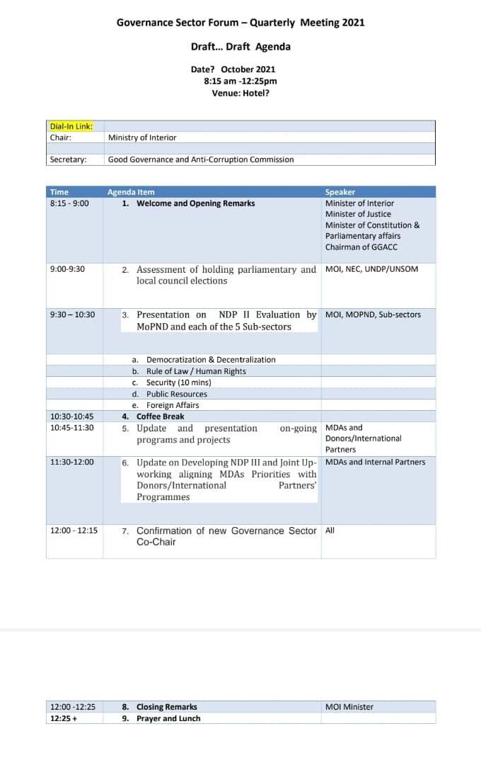 Governance sector forum _quarterly meeting  2021